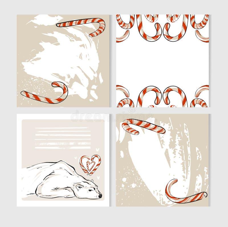Las tarjetas de felicitación hechas a mano de la Feliz Navidad del extracto del vector fijaron con los caracteres lindos del oso  ilustración del vector