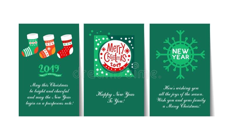 Las tarjetas 2019 de felicitación de la Navidad y de la Feliz Año Nuevo con poner letras al sistema, plantillas se pueden utiliza libre illustration