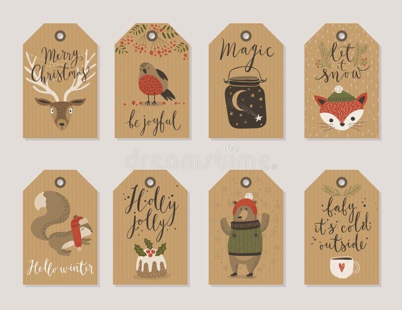 Las tarjetas de papel de Kraft de la Navidad y las etiquetas del regalo fijan, dan estilo exhausto stock de ilustración