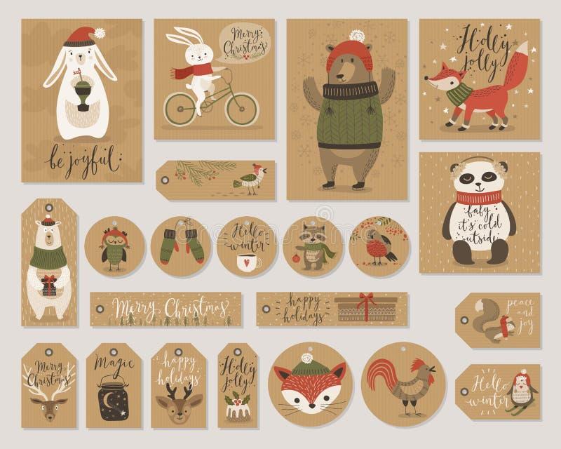 Las tarjetas de papel de Kraft de la Navidad y las etiquetas del regalo fijan, dan estilo exhausto libre illustration