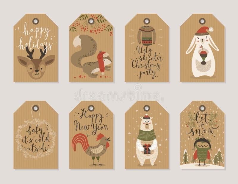Las tarjetas de papel de Kraft de la Navidad y las etiquetas del regalo fijan, dan estilo exhausto ilustración del vector