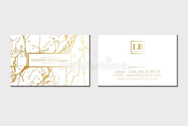Las tarjetas de visita de lujo vector la plantilla, la bandera y la cubierta con la textura de mármol y los detalles de oro de la libre illustration