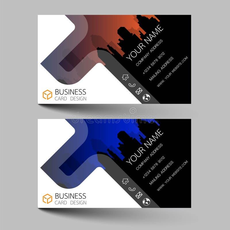Las tarjetas de visita diseñan bicolor en el fondo gris Inspirado por las estructuras de construcción Entre en contacto con las t ilustración del vector