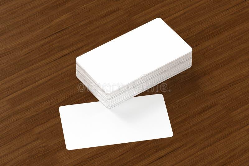 Las tarjetas de visita esconden la maqueta - plantilla, ejemplo 3D ilustración del vector