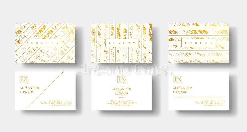 Las tarjetas de visita de lujo elegantes del blanco y del oro fijadas con la textura y el detalle de mármol del oro vector la pla ilustración del vector