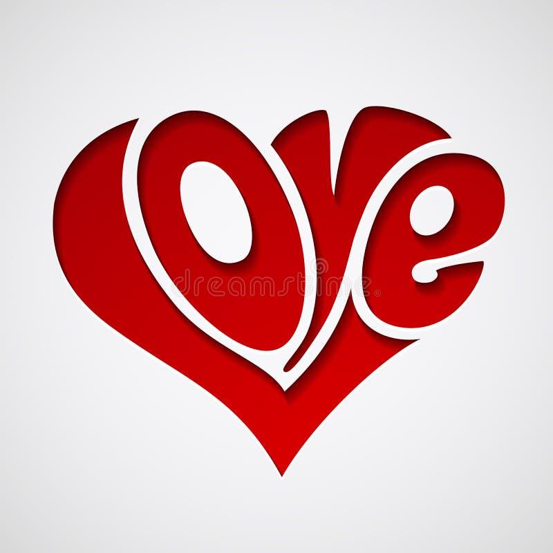 Las tarjetas del día de San Valentín cardan con las letras de amor stock de ilustración