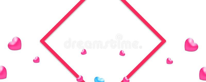 Las tarjetas del día de San Valentín diseñan, los corazones coloridos en el fondo blanco con la frontera y espacio de la copia El ilustración del vector