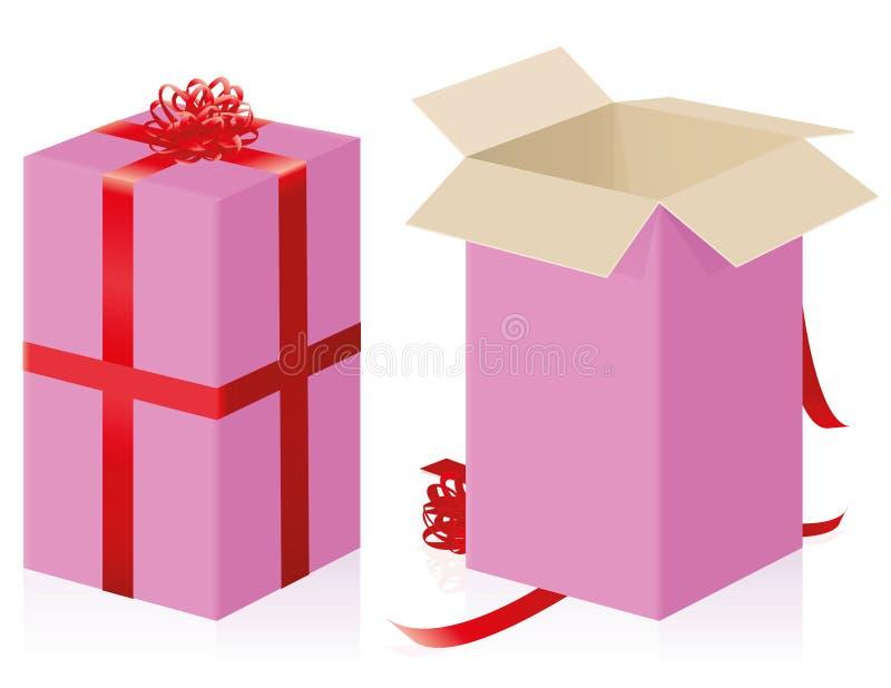 Las tarjetas del día de San Valentín del día de madres del paquete del regalo cerradas abrieron alto tamaño libre illustration