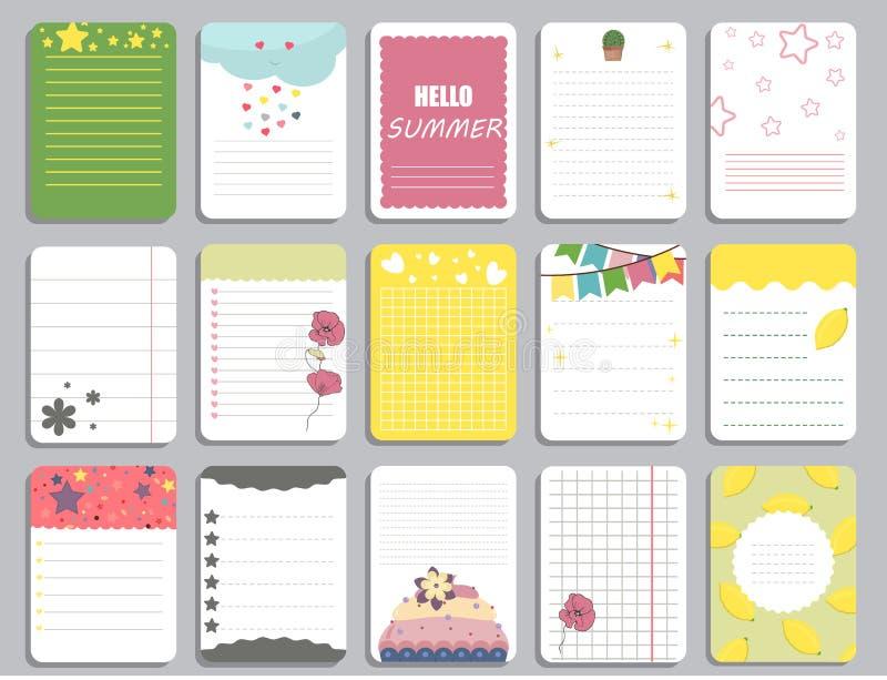 Las tarjetas del vector de la plantilla de la página del cuaderno de los niños, notas, etiquetas engomadas, etiquetas, marcan el  libre illustration