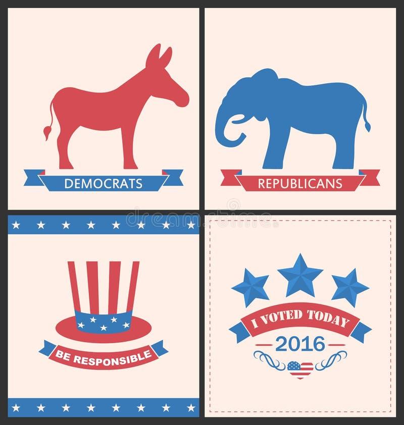 Las tarjetas retras para hacen publicidad de los partidos políticos de Estados Unidos stock de ilustración