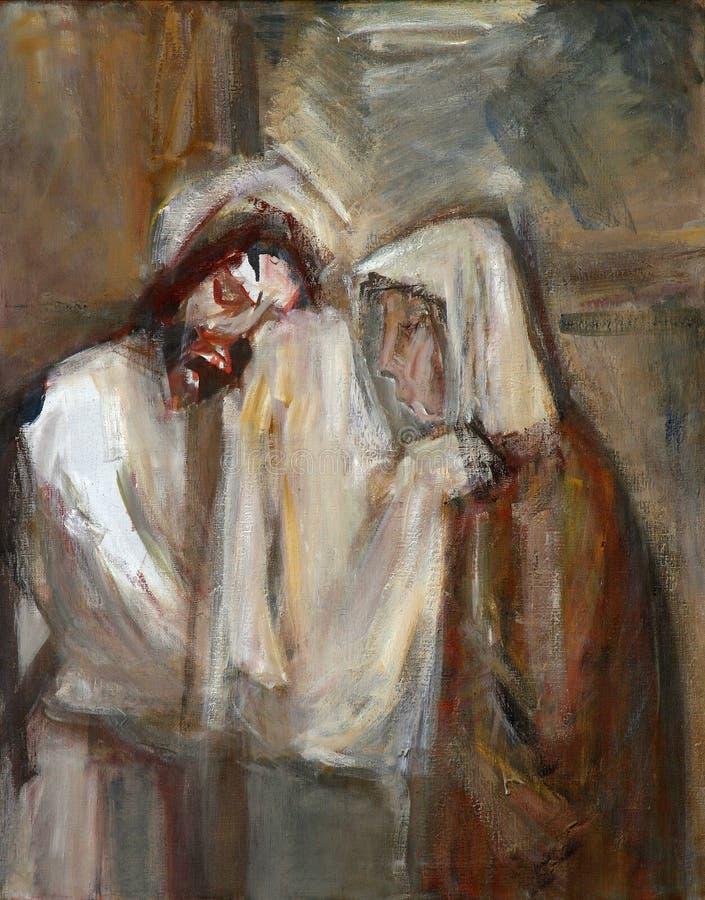 las 6tas estaciones de la cruz, Veronica limpian la cara de Jesús imagen de archivo libre de regalías