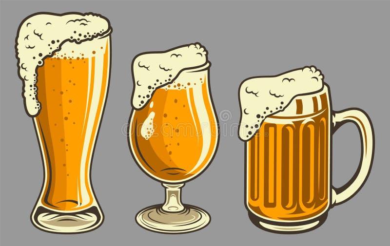 Las tazas de cerveza con espuma fijaron en estilo del vintage stock de ilustración