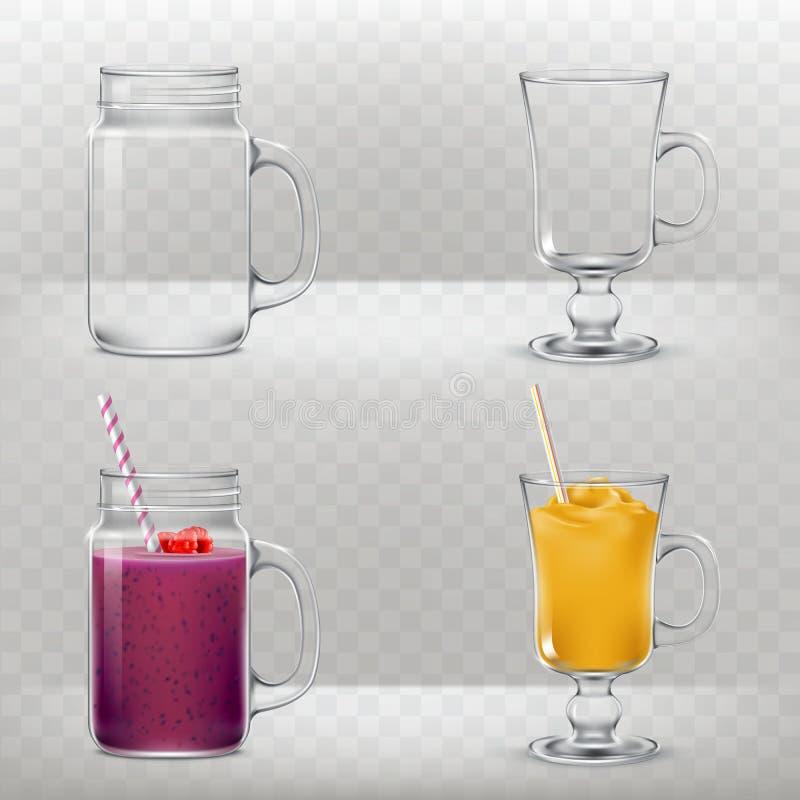 Las tazas de cristal para los smoothies y los cócteles están vacías y por completo stock de ilustración