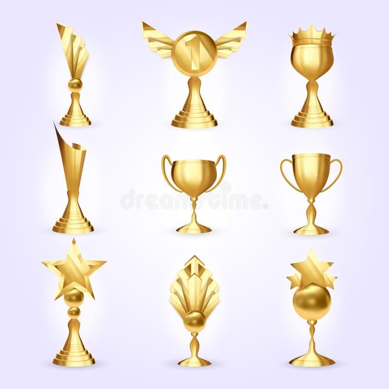 Las tazas del trofeo fijaron vector Premio de oro del trofeo del éxito Diverso icono del campeón Líder Prize del ganador Primer 1 ilustración del vector