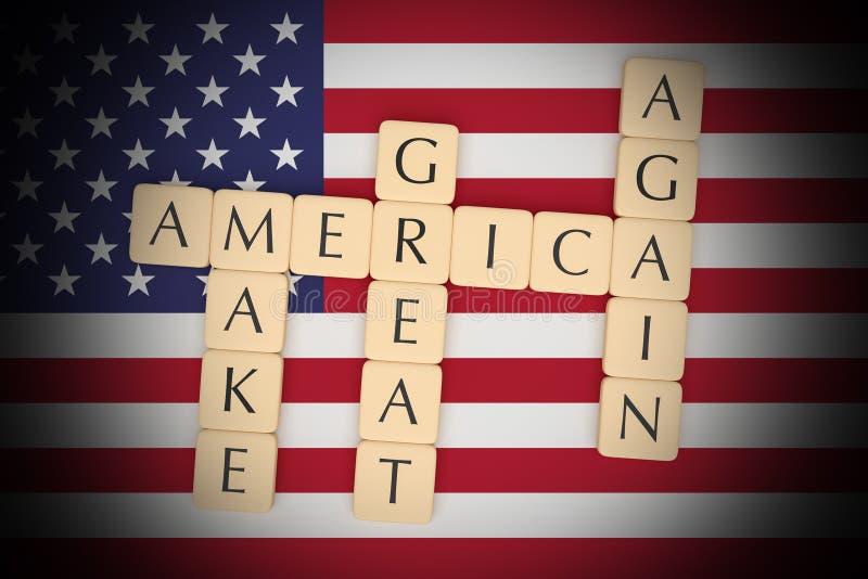 Las tejas de la letra hacen América grande otra vez con la bandera de los E.E.U.U., ejemplo 3d stock de ilustración