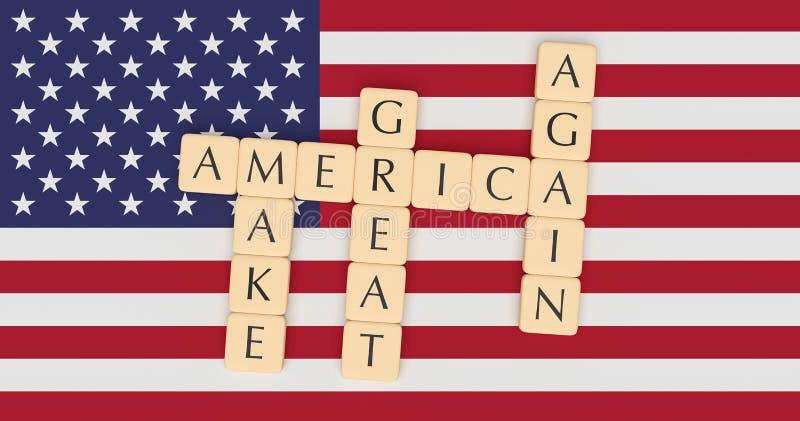 Las tejas de la letra hacen Am?rica grande otra vez con la bandera de los E.E.U.U., ejemplo 3d stock de ilustración