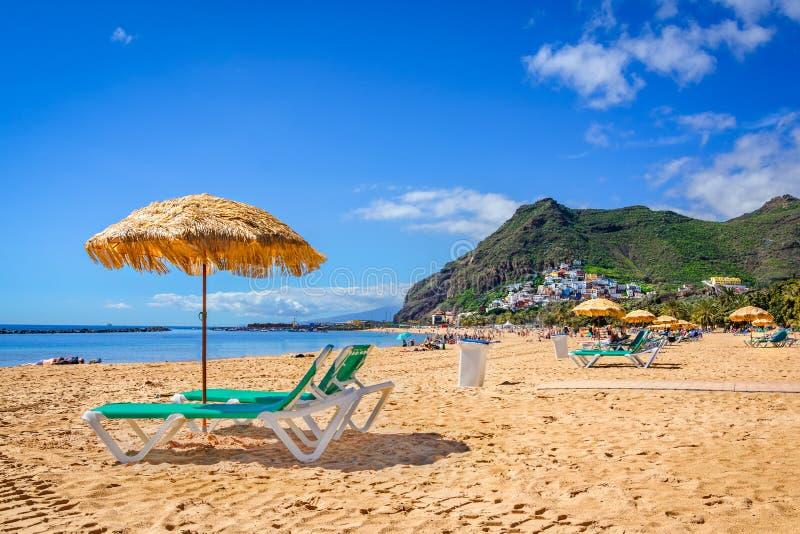 Las Teresitas, Tenerife, Canarische Eilanden, Spanje: Het strand van Lasteresitas stock foto's