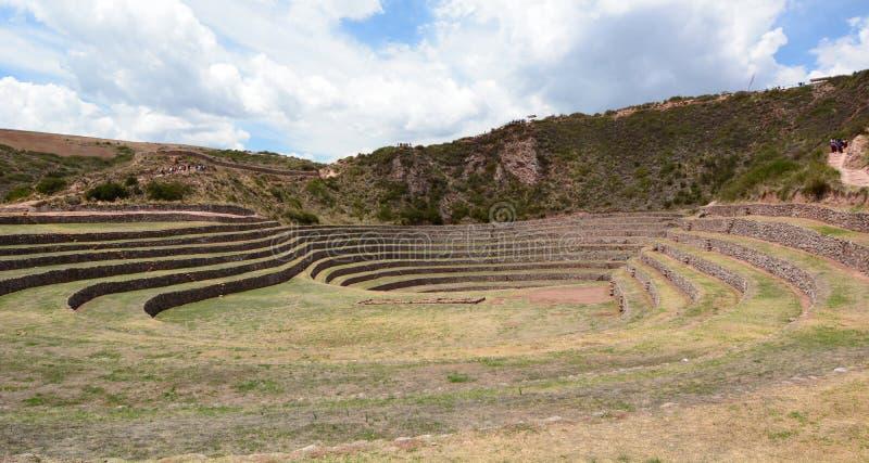 Las terrazas agrícolas Incan moray Valle sagrado Región de Cusco perú imagen de archivo libre de regalías