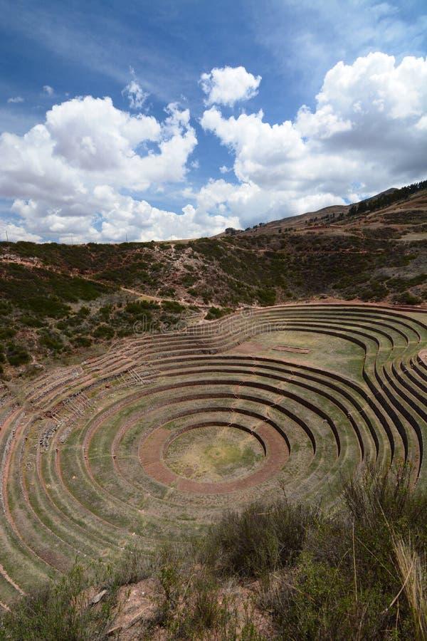 Las terrazas agrícolas Incan moray Valle sagrado Región de Cusco perú imagen de archivo