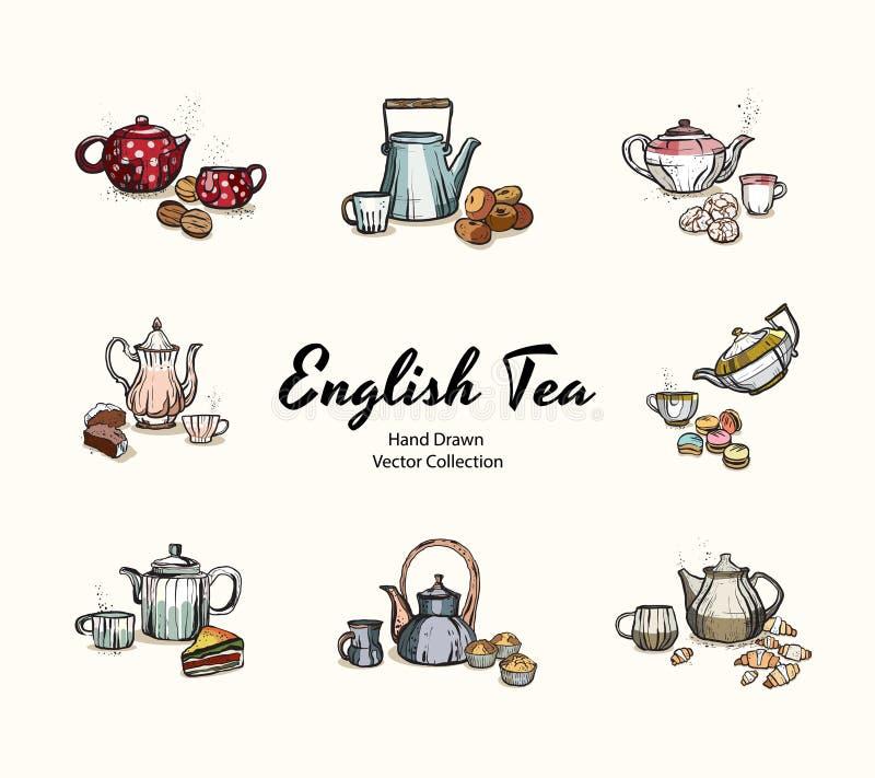 Las teteras, tazas, galletas dan el ejemplo exhausto del vector en viejo estilo Ejemplos del vector fijados para el menú del café stock de ilustración
