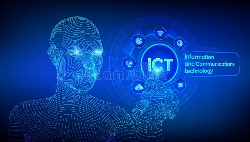 LAS TIC Concepto de la tecnología de información y comunicación en la pantalla virtual Red de comunicaciones inal?mbrica Sistema  ilustración del vector