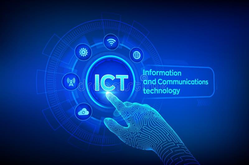 LAS TIC Concepto de la tecnología de información y comunicación en la pantalla virtual Red de comunicaciones inal?mbrica Sistema  stock de ilustración