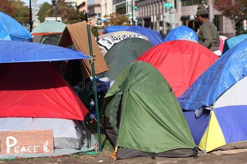 Las tiendas de ocupan a manifestantes de la C.C. imagen de archivo libre de regalías