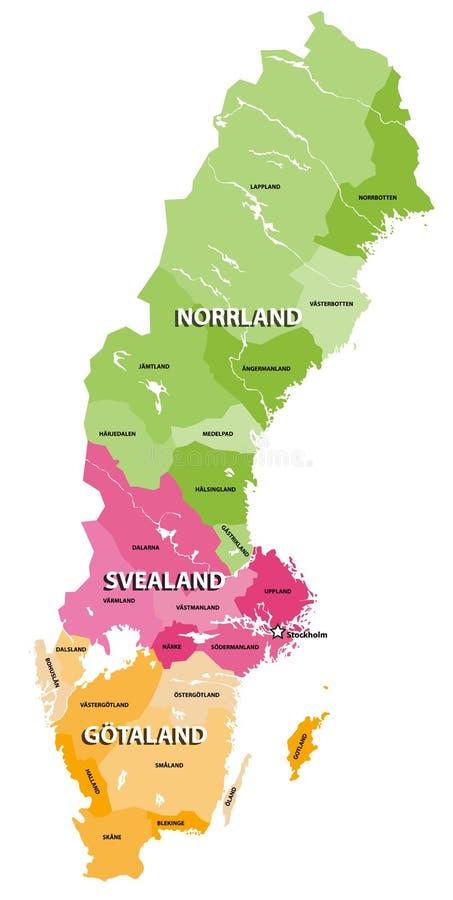 Las tierras del mapa del vector de Suecia Tres porciones tradicionales de Suecia cada uno provincias compuesto fotografía de archivo