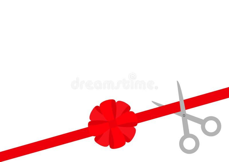 Las tijeras cortaron la cinta roja recta a la derecha Arco redondo grande Evento de los principios del negocio Concepto del inici ilustración del vector