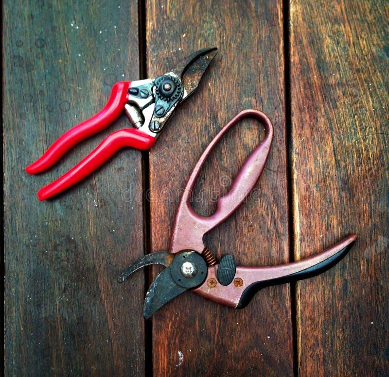 Las tijeras de podar/jardín scissors en una superficie de madera fotografía de archivo
