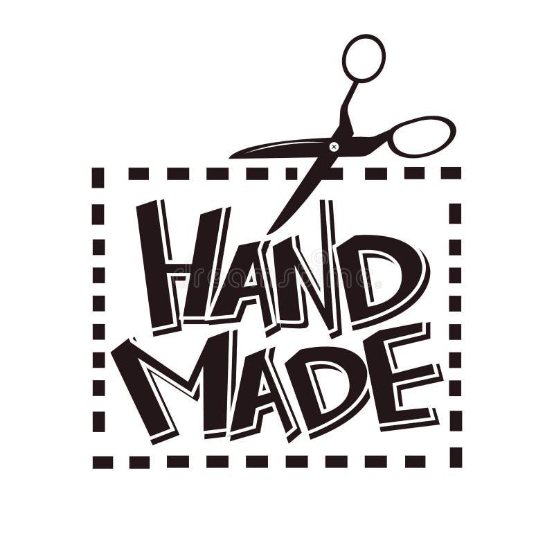 Las tijeras hechas a mano de la etiqueta del vector de la etiqueta cosen para el salón del taller de la modista de la tienda del  ilustración del vector