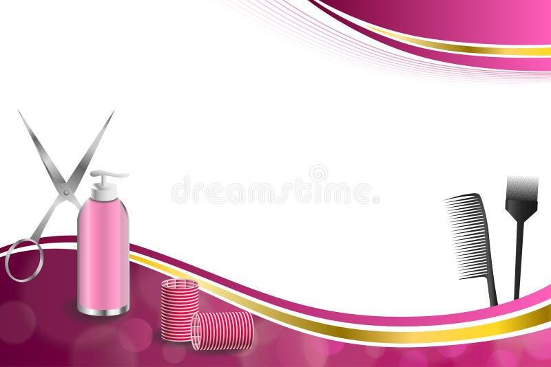 Las tijeras rojas del bigudí de la peluquería del fondo de las herramientas rosadas abstractas del peluquero cepillan el ejemplo  ilustración del vector