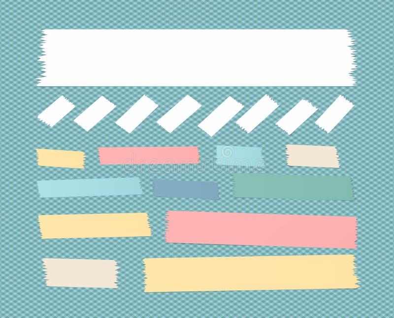 Las tiras de papel adhesivas pegajosas, cinta adhesiva, se pegaron en fondo ajustado azul stock de ilustración