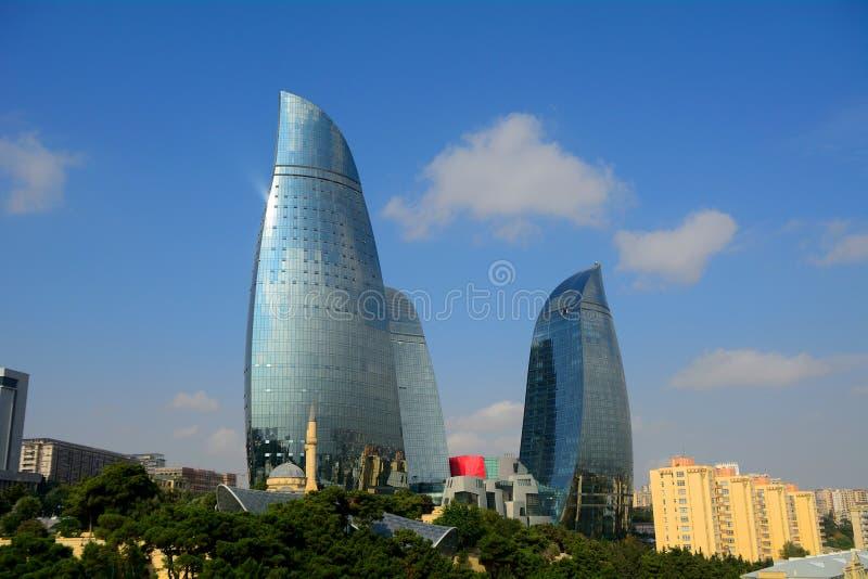 Las torres de la llama, Baku, Azerbaijan fotografía de archivo