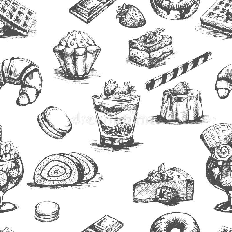 Las tortas de la panadería y los cócteles de los postres bosquejan vector del esquema stock de ilustración