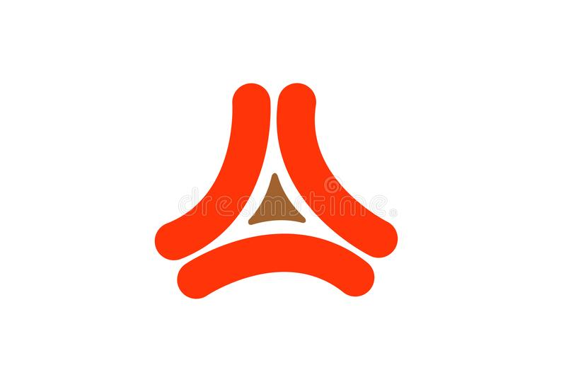 Las tres formas creativas resumen el logotipo rojo del diseño del símbolo del triángulo stock de ilustración