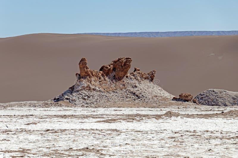 Las Tres Marias drei Marys, berühmte Felsen im Valle-De-La Luna Valley des Mondes, Atacama-Wüste, Chile lizenzfreie stockbilder