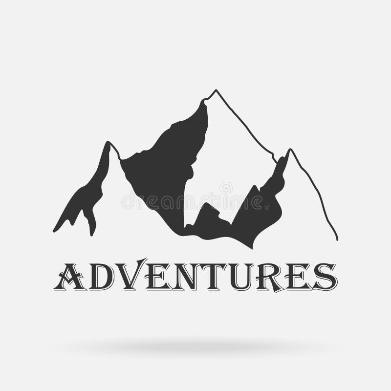 Las tres montañas del vintage de los picos Etiquetas de la aventura stock de ilustración