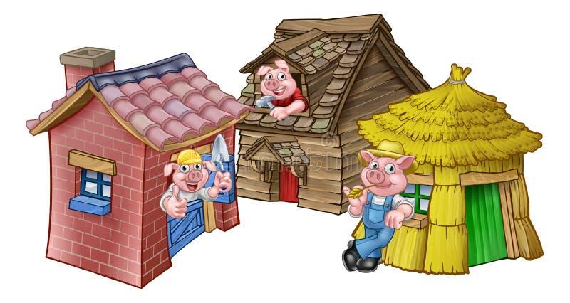 Las tres pequeñas casas del cuento de hadas de los cerdos ilustración del vector