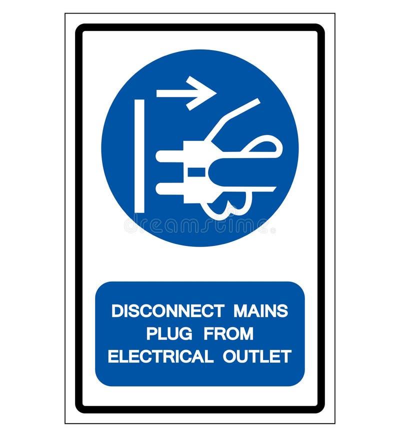 Las tuberías de la desconexión tapan de la muestra eléctrica del símbolo del mercado, ejemplo del vector, aislado en la etiqueta  libre illustration