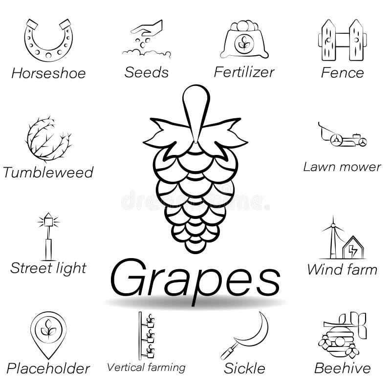Las uvas dan el icono del drenaje Elemento de cultivar iconos del ejemplo Las muestras y los s?mbolos se pueden utilizar para la  stock de ilustración