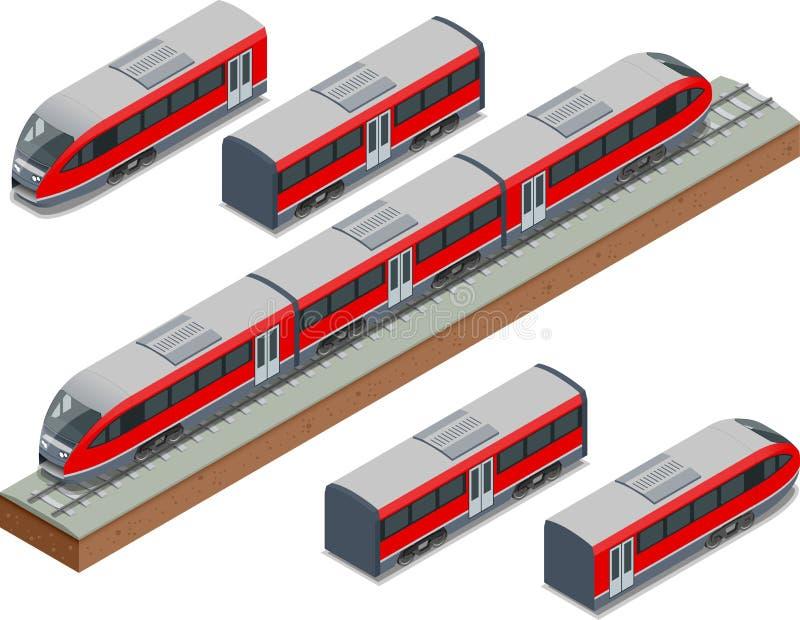 Las vías isométricas del tren y el tren de alta velocidad moderno Vector el ejemplo isométrico de un Rápido-tren Vehículos diseña libre illustration