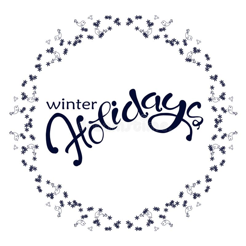 Las vacaciones de invierno azul marino de las letras en copo de nieve y pájaros enrruellan en blanco libre illustration