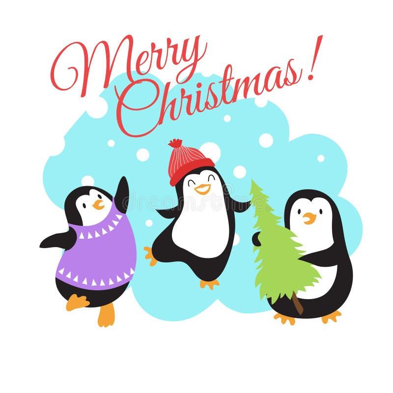 Las vacaciones de invierno de la Navidad vector la tarjeta de felicitación con los pingüinos lindos de la historieta stock de ilustración