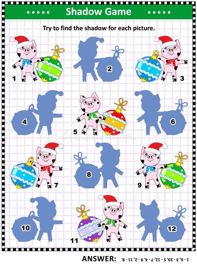 Las vacaciones de invierno sombrean el juego con los cerdos y las chucherías stock de ilustración