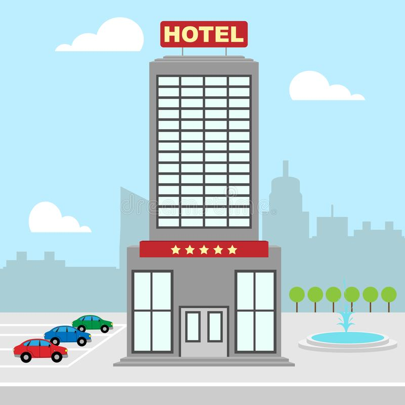 Las vacaciones del hotel muestran el ejemplo del alojamiento 3d de la ciudad stock de ilustración