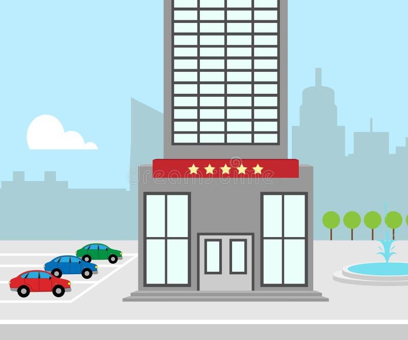 Las vacaciones del hotel significan el ejemplo del alojamiento 3d de la ciudad stock de ilustración