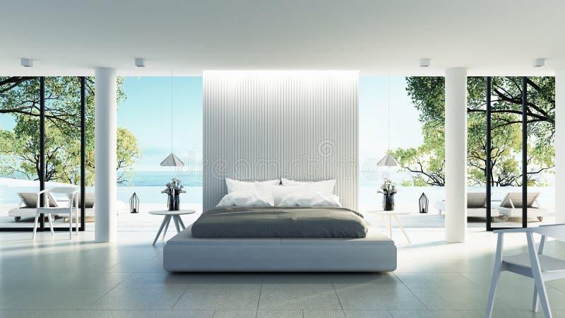 Las vacaciones modernas y de lujo/3D del interior del dormitorio de la playa - rinden ilustración del vector