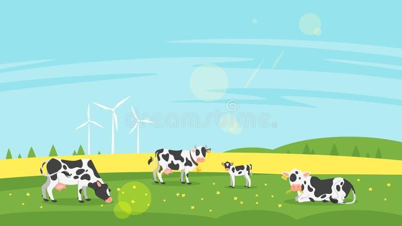 Las vacas pastan en un campo stock de ilustración