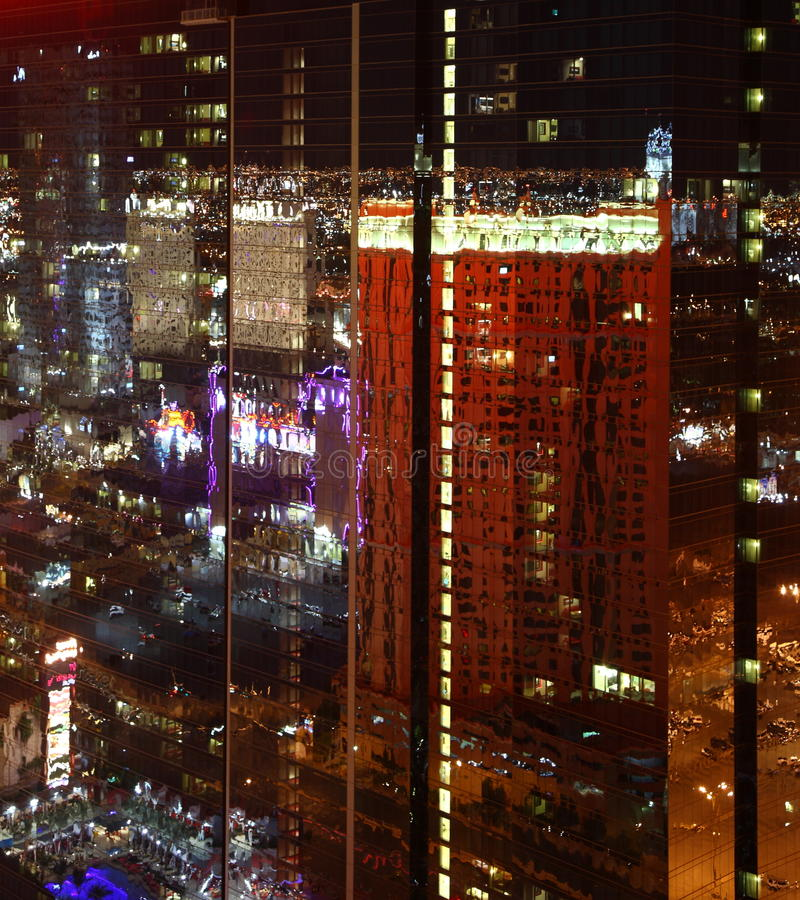 Las Vegas. Reflections in Las Vegas / USA from high above at night royalty free stock photos